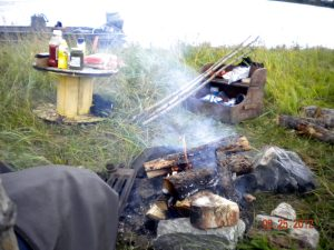 Lunch on the Shore During a Fishing Trip