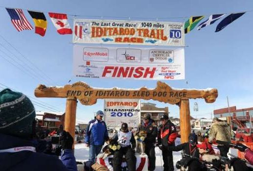 Iditarod Dog Sled race Finish Line in Nome, AK